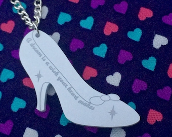Pearlescent Cinderella Glass Slipper Necklace