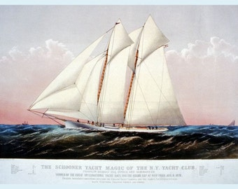 Schooner Yacht 'Magic' reproduction of Currier & Ives Print