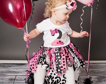 Pink and Black fabric tutu polka dot fabric tutu scrappy tutu rag tutu Mouse scrappy tutu Birthday fabric tutu
