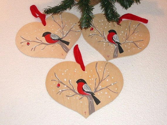 3 Swedish Vintage Wood Christmas Tree Decors Large Wood