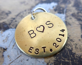 Couples initials Established / Anniversary date  custom hand stamped personalized keychain keepsake.
