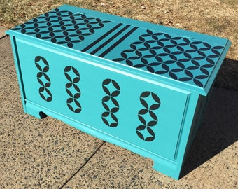 SOLD -Solid Wood Toybox- Turquoise Teal & Black