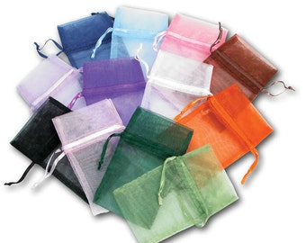 SALE - 12 Assorted Colors - 2 x 3.25 Organza Bags