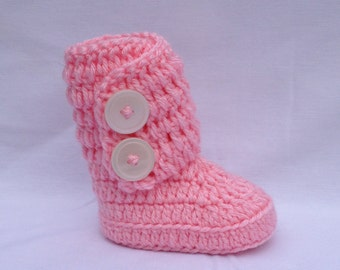 Crochet Toddler Boots in Precious Pink, Toddler Uggs, Crochet Toddler Shoes, Crochet Toddler Boots, Toddler Shoes, Slouch Slouch Boots