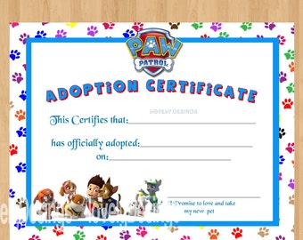 Paw patrol adoption certificate printable instant download for Cabbage patch adoption certificate template
