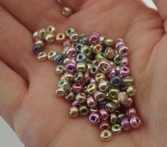 Seed beads multi coloured electroplated round boho