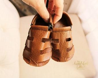 Romanos, sandals, leather sandals, baby shoes, brown sandals, boy moccs, boy shoes