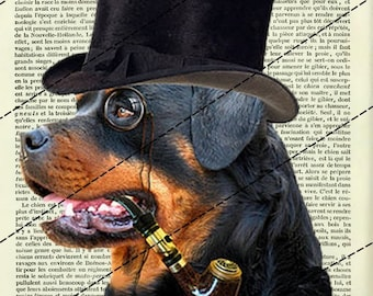 """POSTERS... POSTER art print """"STEAMPUNK Rottweiller"""" clipart table 20 x 29 cm"""