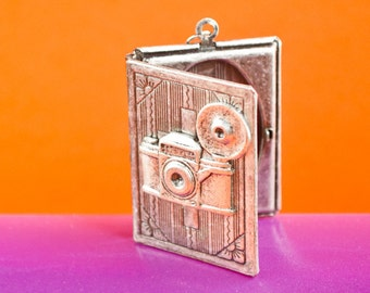 Camera Locket, Camera Necklace, Book Locket, Vintage Locket Necklace, Secret Locket, Antique Locket, Photo Album, Holiday Gifts Photo Locket
