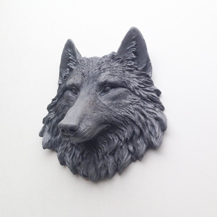Any Color Or Grey Wolf Head Wall Mount Resin Faux By