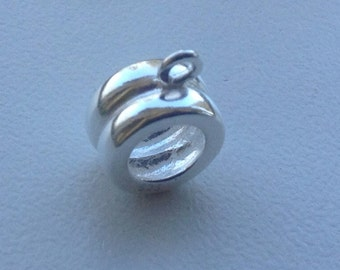 Large Hole Rib Sterling Silver bead-  Pandora Bracelet Compatible Bead, large hole sterling silver bead, European bead adapter