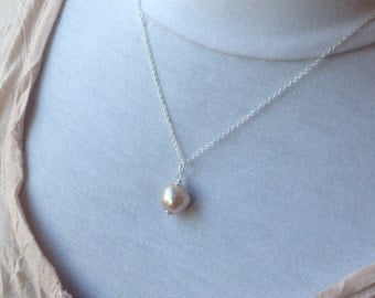 Large 13mm Kasumi Pearl Pendant Necklace - pearl necklace, pearl jewelry, June birthstone, bridal jewelry, pearl pendant, sterling silver