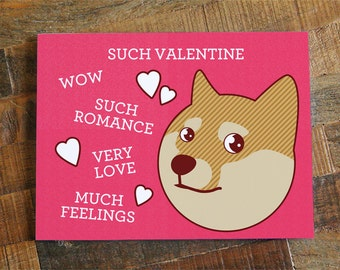 "Funny Valentine Card ""Such Valentine"" - Doge Valentine's Day Card, Geeky Nerdy Card, Shibe Doge Card, Internet Meme Card, Pink Hearts Card"