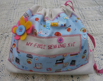 My first  sewing kit / a fun starter set for crafty kids /  in Blue Sewing Pictures