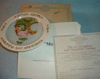 1986 Newell Pottery May by Sarah Stilwell Weber Calendar Collection Plate w Box & COA