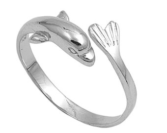 Dolphin Ring 8MM Sterling Silver 925