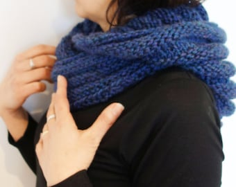 SALE PDF Knitting Pattern - Hooded Ribbed Infinity Scarf/Cowl/Loop/Wrap  .....    (Adult and Kid Size)