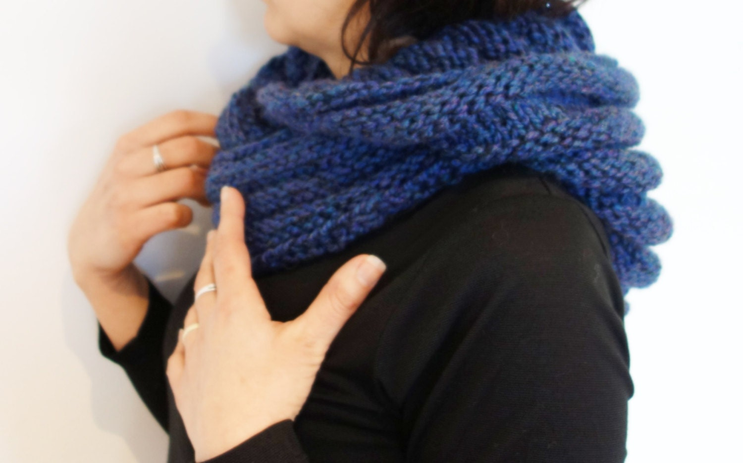 Knitting Pattern Hooded Ribbed Infinity Scarf/Cowl/Loop/Wrap