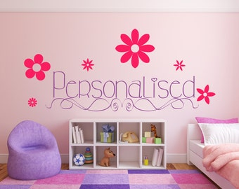 Personalized Name with Flowers. Vinyl wall art decal sticker quote. Any color and size. (#46)