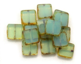 Aqua green opaline w/ picasso table cut 10mm square tile bead. Set of 8, 15, or 30.