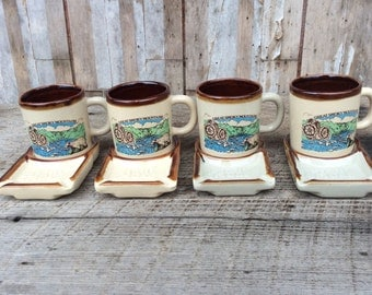 Set of 4 souvenir Great Smoky Mountains coffee cups and ashtrays Sip and Smoke