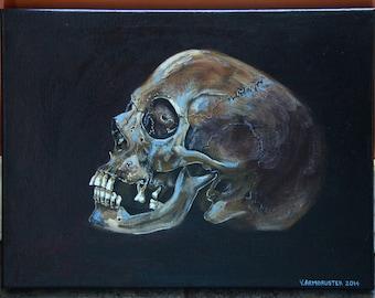 Human skull painting