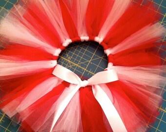 Valentine tutu, red and white tulle tutu, Valentine's Day tutu, Canada Day tutu, red and white tutu