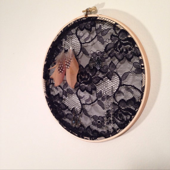 Displayed In This Embroidery Hoop Is A Fantastic: Earring Display Black Lace 8 Embroidery Hoop