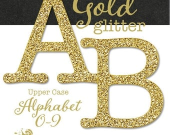 Gold Glitter Alphabet - Upper Case Letters and Numbers - Decorative Stencil - Digital Clip Art Set - Commercial Use - INSTANT DOWNLOAD