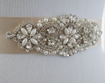 Wedding Belt, Bridal Belt, Sash Belt, Crystal Rhinestone & Off White Pearls - Style 143
