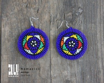 NAMACICI - Zulu Beaded Earrings - royal blue