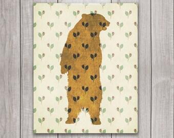 75% OFF SALE - Grizzly Bear Art Print - 8x10 Printable Art, Bear Silhouette, Animal Print, Bear Wall Art, Rustic Decor, Animal Art