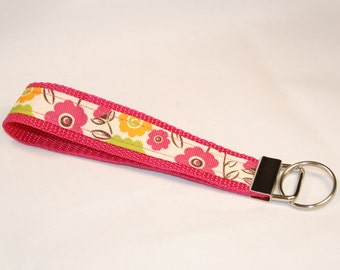 Key Fob - Pink Flowers on Pink