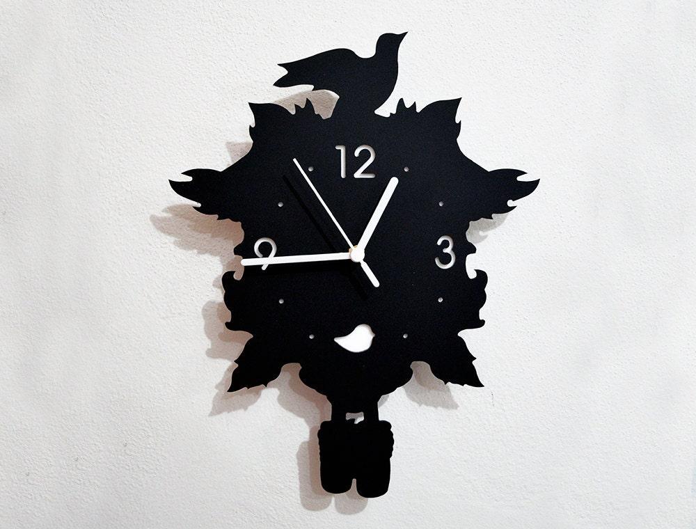 Bird Modern Cuckoo Silhouette Wall Clock