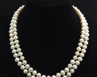 Genuine Pearl Necklace, AA+ Pearl Necklace, Double Strand Pearl Necklace, Multi strand Freshwater Pearl Necklace