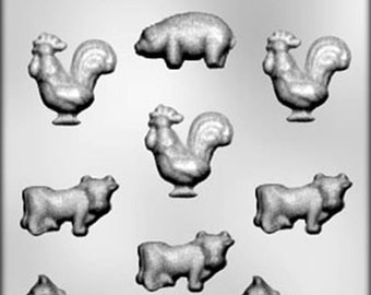 Farm Animals #1 Chocolate Candy Mold Cow Pig Horse