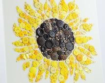 MADE TO ORDER Sunflower Button Art, Custom Order Button Artwork, Button Flower Art, Sunflower Decor, Sunflower Wall Art, Yellow Flower Decor
