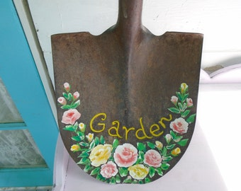 Vintage Garden Shovel Hand Painted Shabby Chic Pink and Yellow Roses Gorgeous! Decorative Garden Shovel