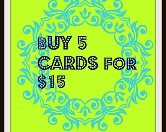 SALE Buy Any 5 Cards for 15, CARDS SALE, Discounted cards, Card sale, Greeting Card Sale, Card on sale, Buy one get one, destash, Discount