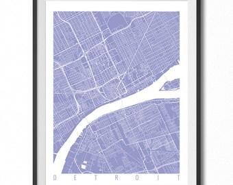 DETROIT Map Art Print / Michigan Poster / Detroit Wall Art Decor / Choose Size and Color