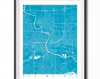 DES MOINES Map Art Print / Iowa Poster / Des Moines Wall Art Decor / Choose Size and Color