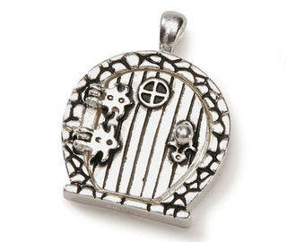 Fairy Wish Door Locket with Hinges and Round Top, Antique Silver Finish #BG2006