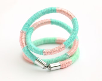 SALE % pastel colored textile wrap bracelet light pink and mint, fabric rope wrap bracelet, cotton wrapped bracelet pink mint