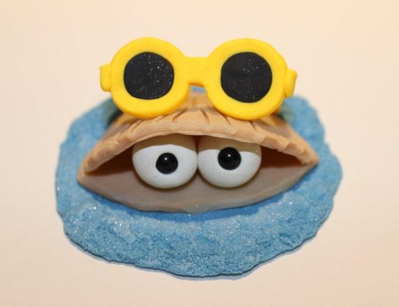 Cake Decoration Eyes : Polymer Clay Big Eye Clam Shell and Sunglass Figurine good