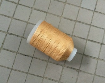 Vintage Gudebrod/Utica Silk Thread Spool, Golden Tan, Size F, 185 Yards