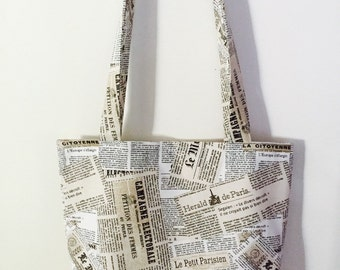 Ladies Designer Herald de Paris French Newspaper Tote Bag - Pouch by Pouchbags