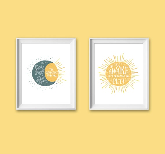 sun moon stars kids art sun nursery moon wall art sun. Black Bedroom Furniture Sets. Home Design Ideas