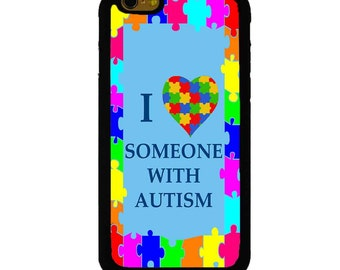 I Love Someone With Autism Colorful iPhone 4/4S/5/5S/5C/6/6 Plus 6S 6S Plus Moto X, Moto E And Moto G (1st and 2ndGen) Fitted Case