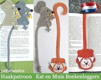 024NLY Kat en Muis Boekenleggers  - Amigurumi Haakpatroon - PDF by Zabelina Etsy