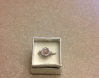 New handmade wire wrapped glass bead ring size 7.5